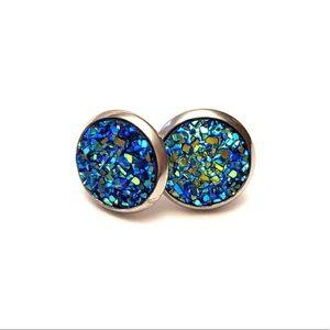 ⭐️2/$12 Mermaid Blue DRUZY STUD 10mm Earrings